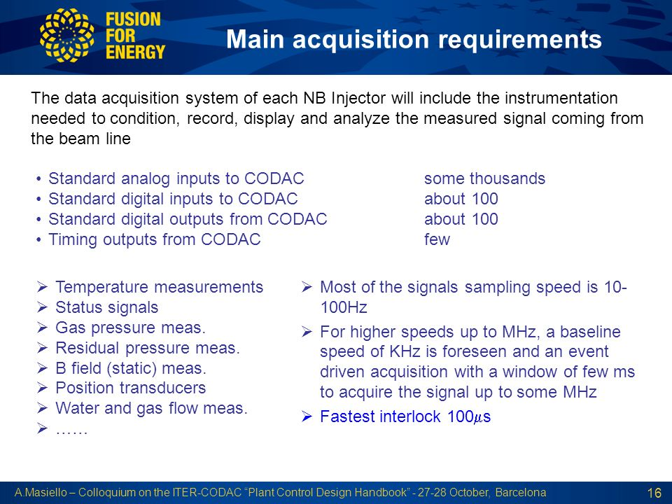 Main acquisition requirements