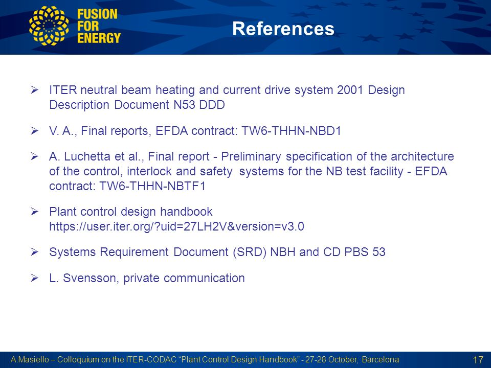 References ITER neutral beam heating and current drive system 2001 Design Description Document N53 DDD.
