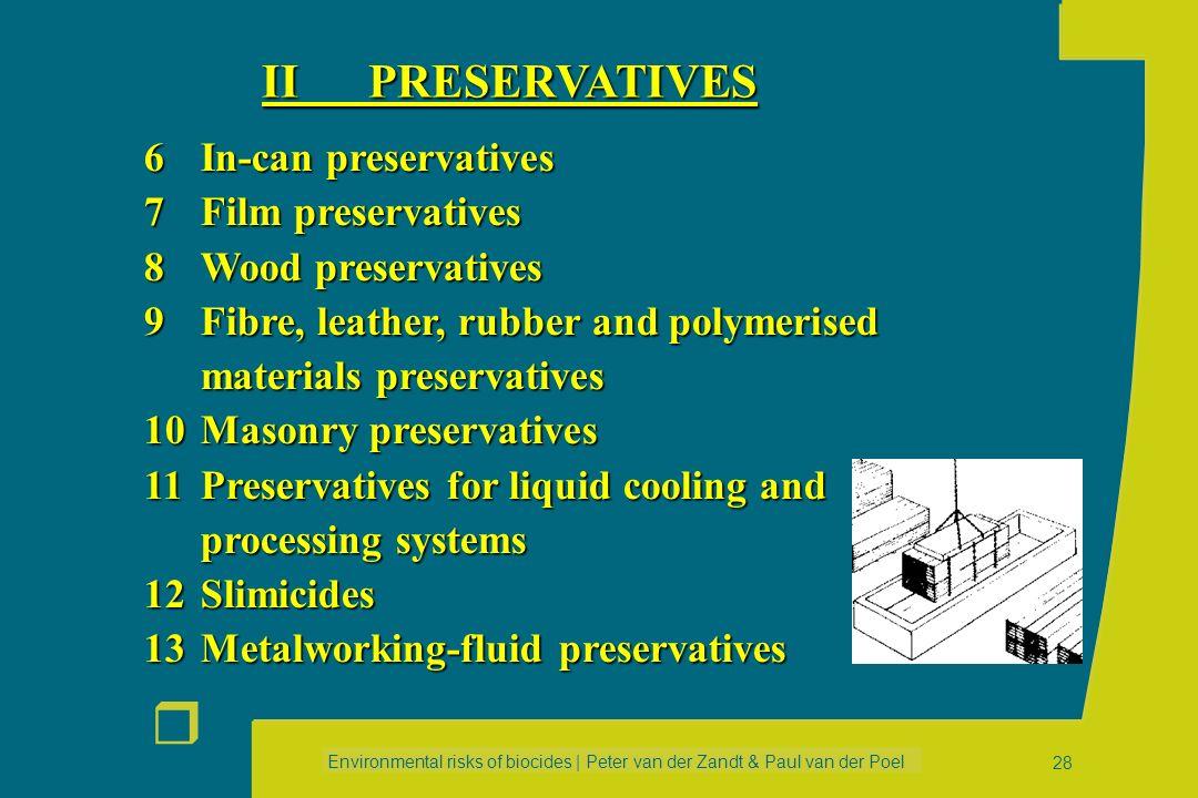 II PRESERVATIVES 6 In-can preservatives 7 Film preservatives