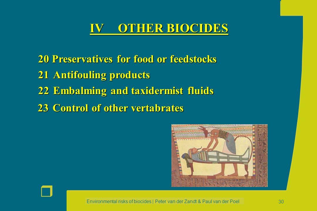 IV OTHER BIOCIDES 20 Preservatives for food or feedstocks