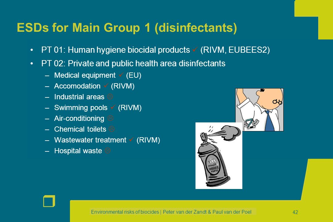 ESDs for Main Group 1 (disinfectants)