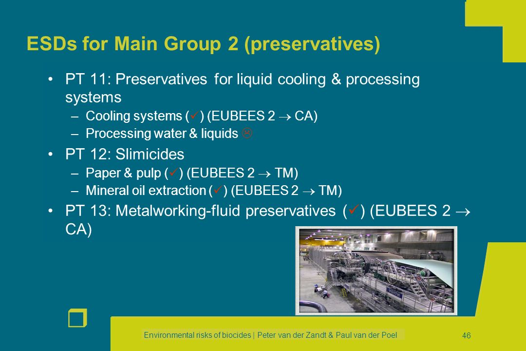 ESDs for Main Group 2 (preservatives)