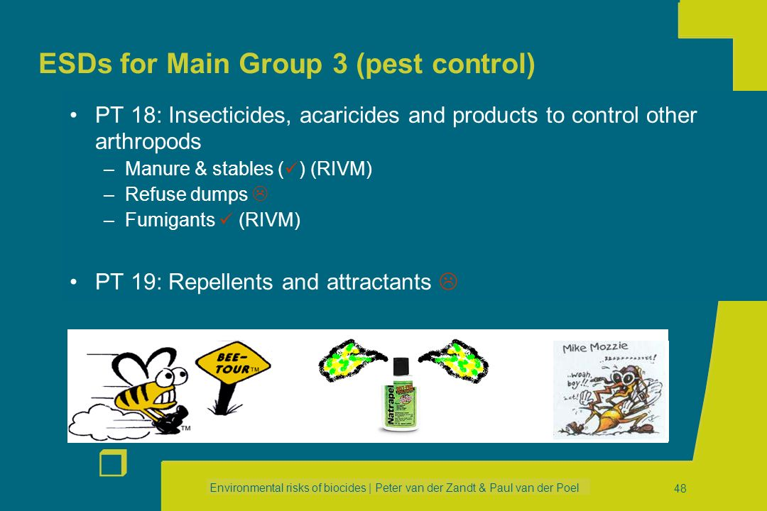 ESDs for Main Group 3 (pest control)