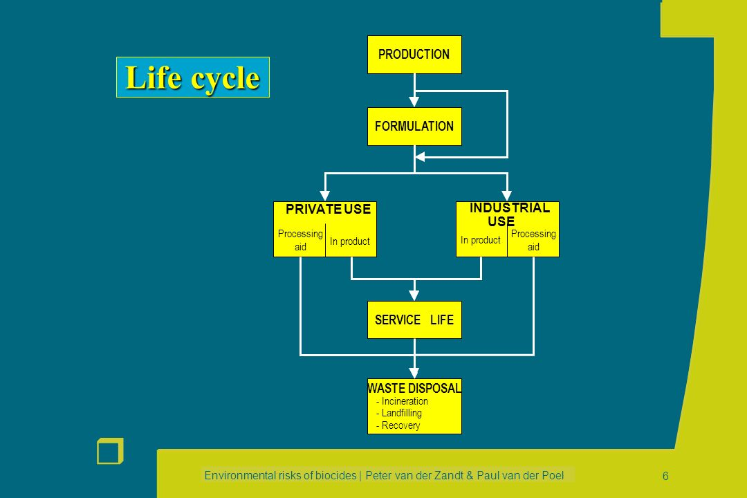 Life cycle PRODUCTION FORMULATION PRIVATE USE INDUSTRIAL USE