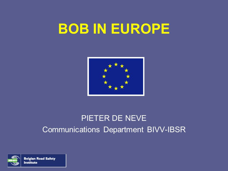 PIETER DE NEVE Communications Department BIVV-IBSR