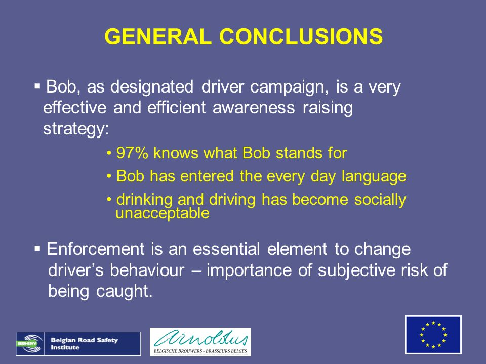 GENERAL CONCLUSIONS Bob, as designated driver campaign, is a very effective and efficient awareness raising strategy: