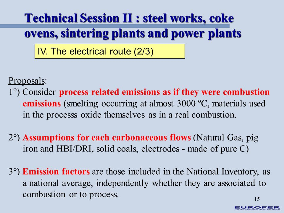 Technical Session II : steel works, coke ovens, sintering plants and power plants