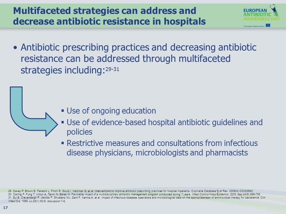 Multifaceted strategies can address and decrease antibiotic resistance in hospitals
