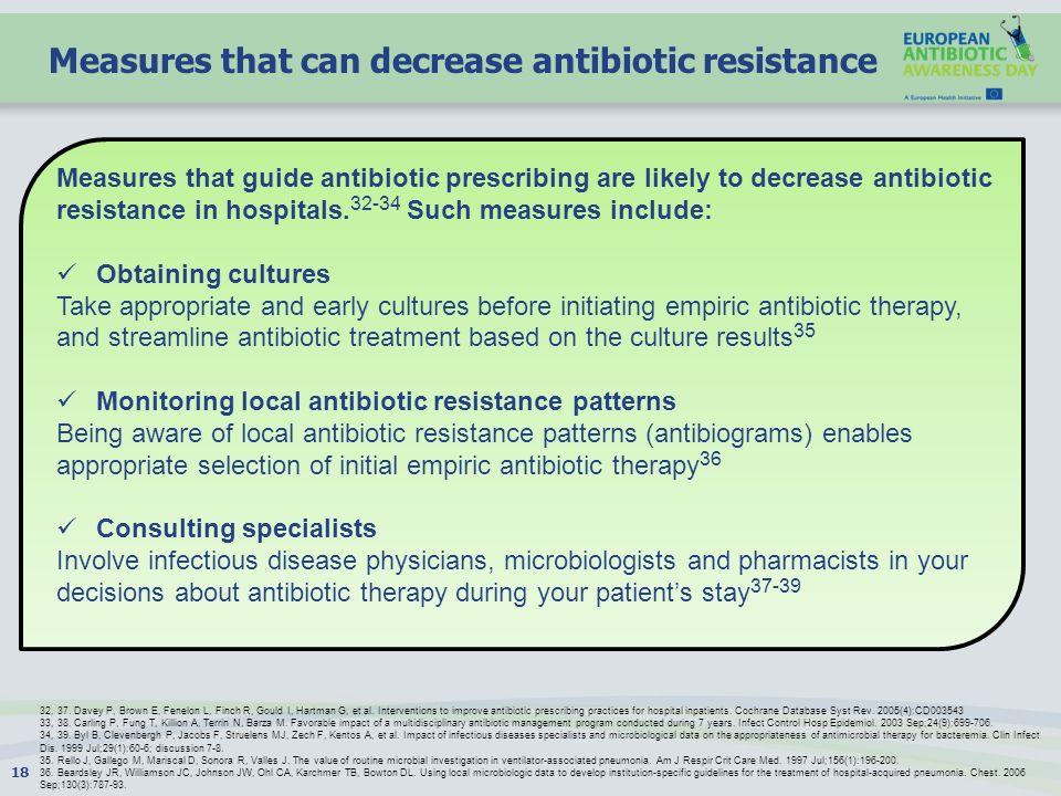 Measures that can decrease antibiotic resistance