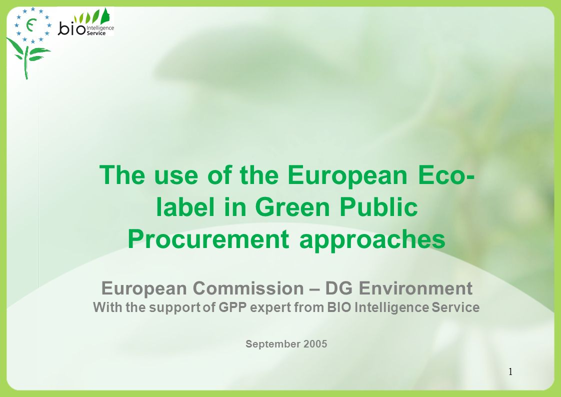 The use of the European Eco-label in Green Public Procurement approaches
