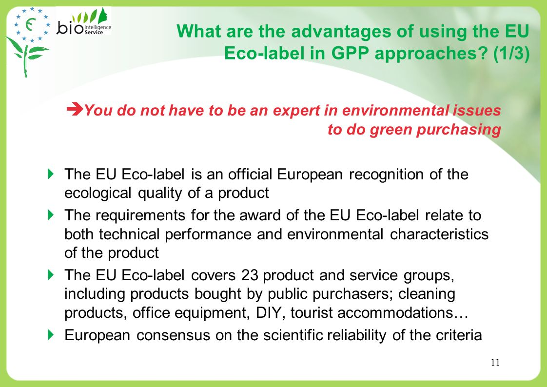 What are the advantages of using the EU Eco-label in GPP approaches