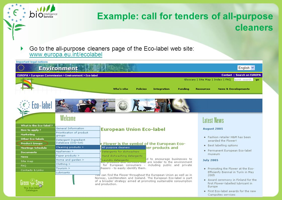 Example: call for tenders of all-purpose cleaners