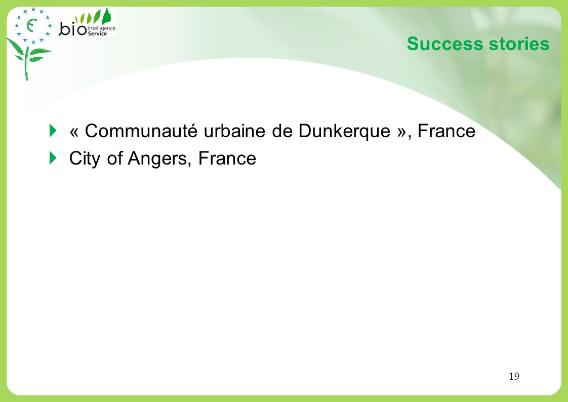 Success stories « Communauté urbaine de Dunkerque », France City of Angers, France
