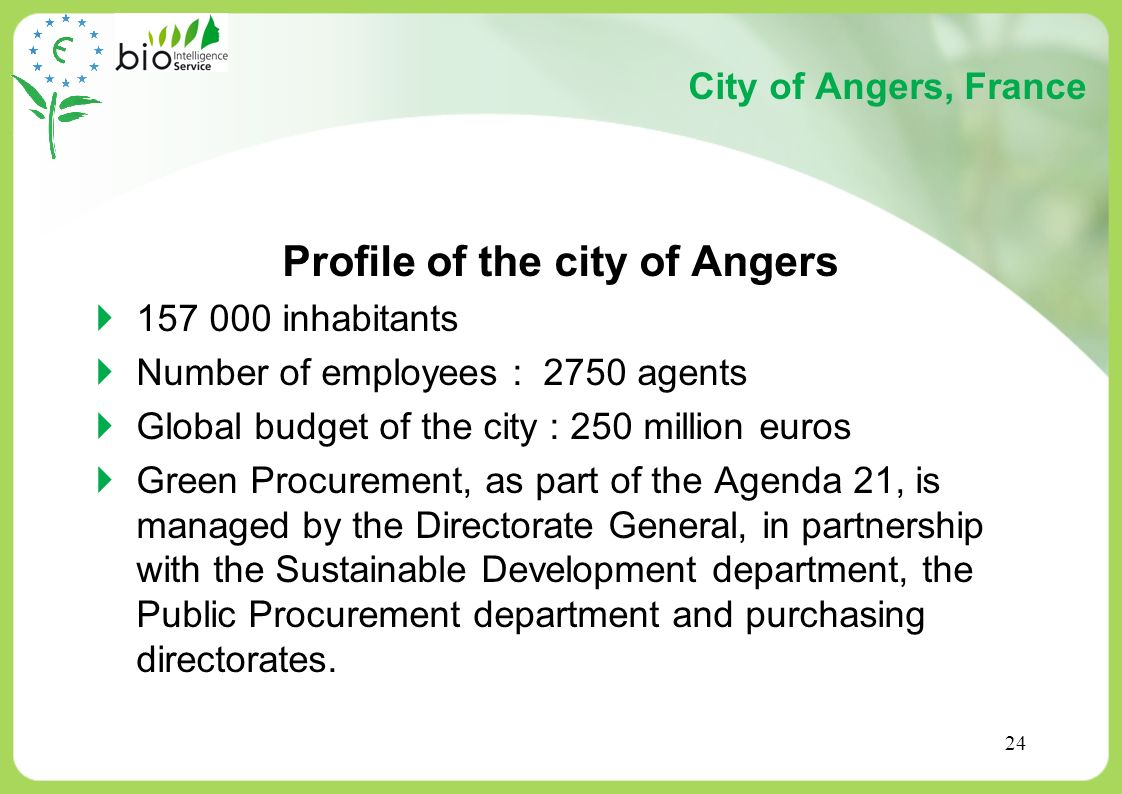 Profile of the city of Angers