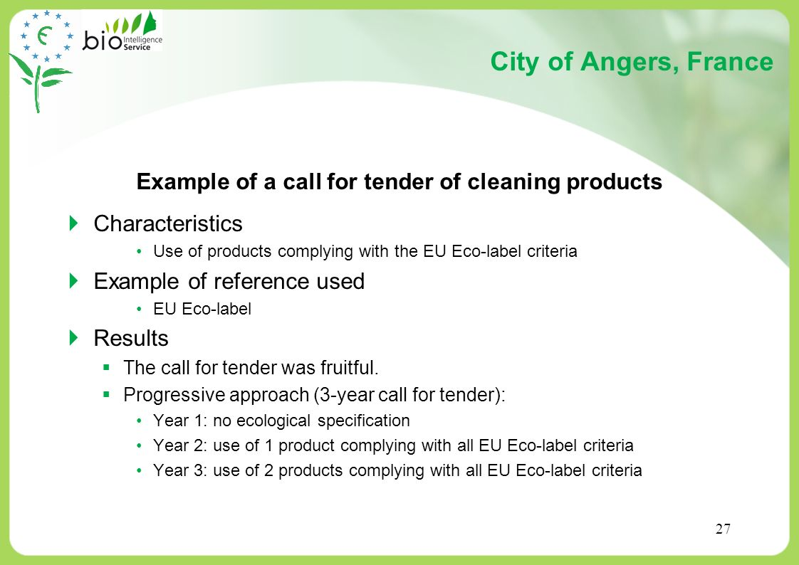 Example of a call for tender of cleaning products