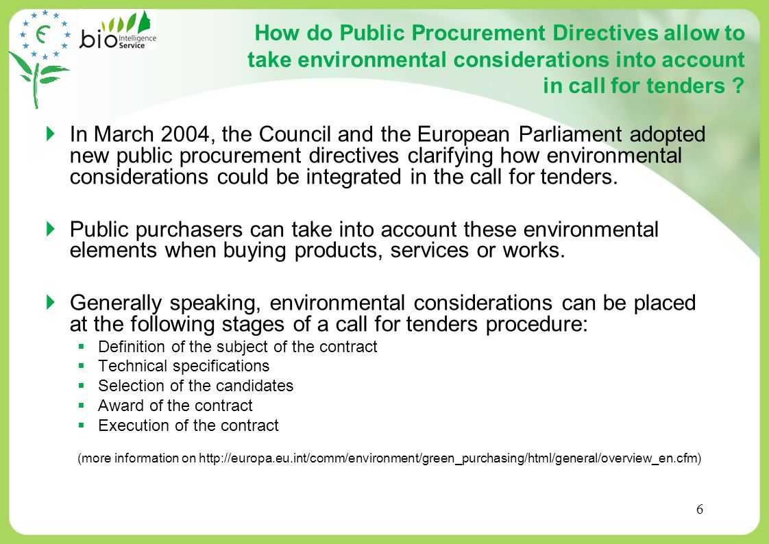 How do Public Procurement Directives allow to take environmental considerations into account in call for tenders