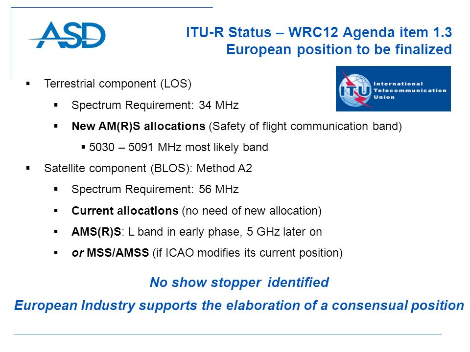 ITU-R Status – WRC12 Agenda item 1.3 European position to be finalized