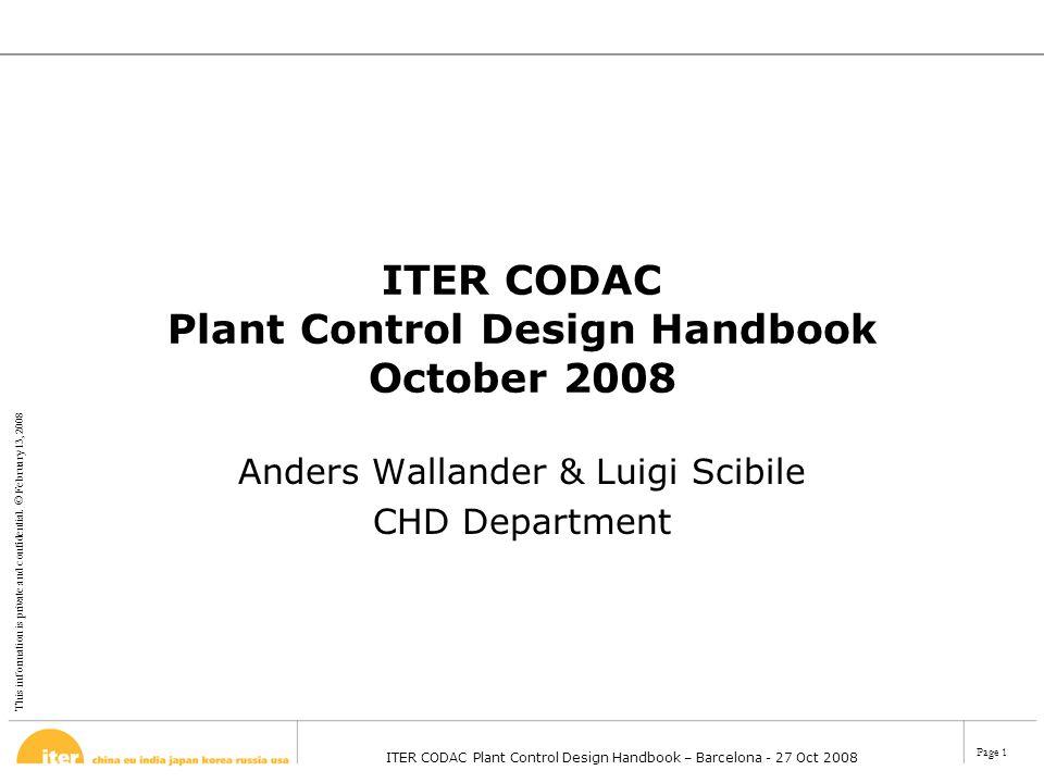ITER CODAC Plant Control Design Handbook October 2008