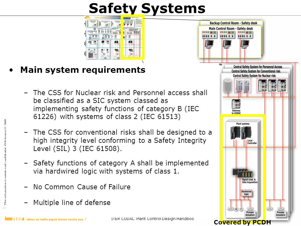Safety Systems Main system requirements
