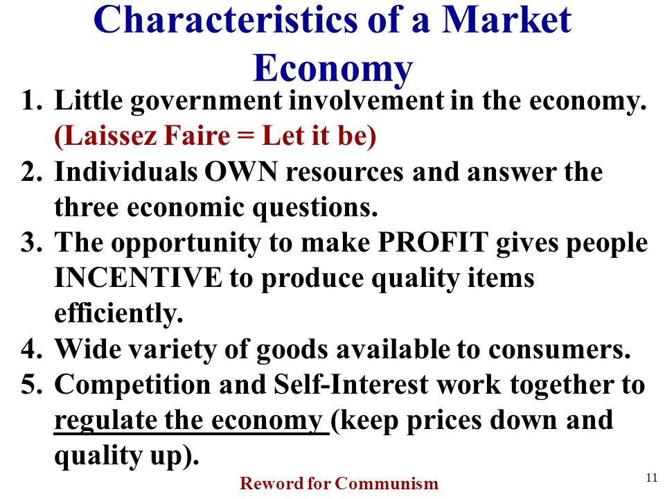 characteristics of market economy Characteristics associated with a monopoly market make the single seller the  market  the total stock of money circulating in an economy is the money supply.