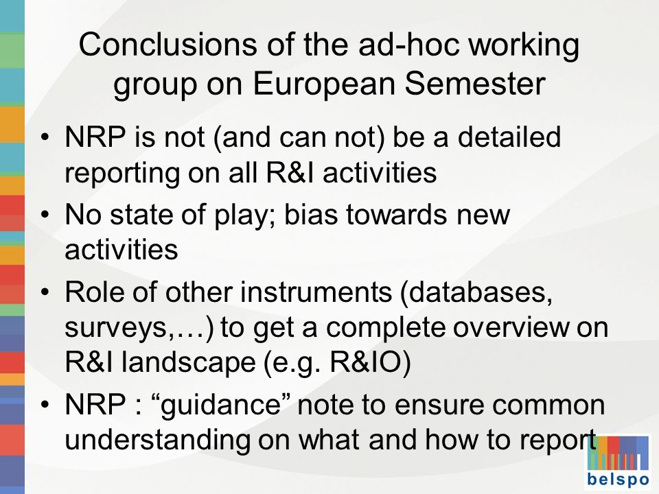 Conclusions of the ad-hoc working group on European Semester