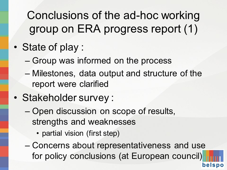 Conclusions of the ad-hoc working group on ERA progress report (1)