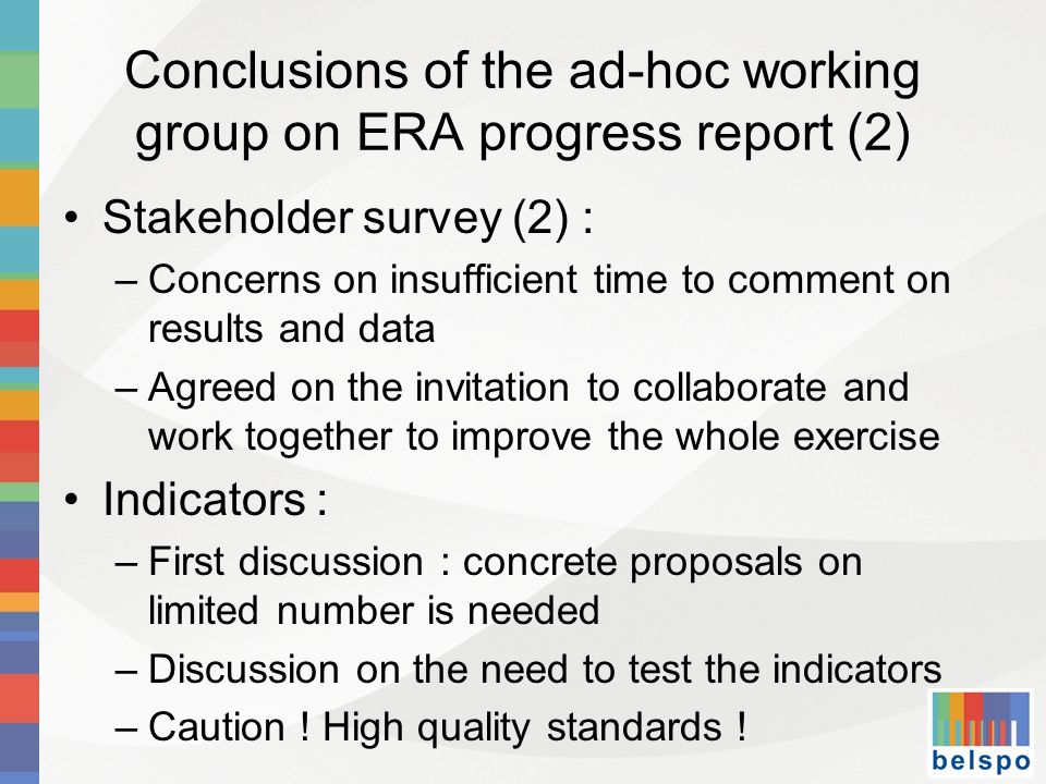 Conclusions of the ad-hoc working group on ERA progress report (2)