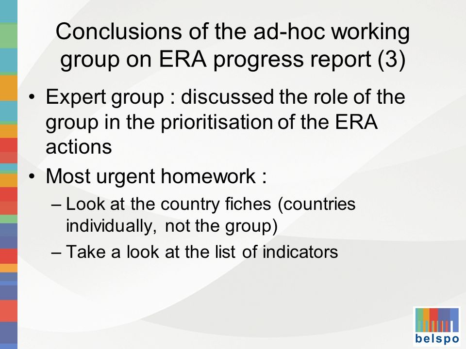 Conclusions of the ad-hoc working group on ERA progress report (3)