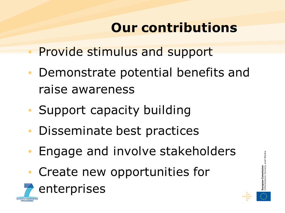 Our contributions Provide stimulus and support