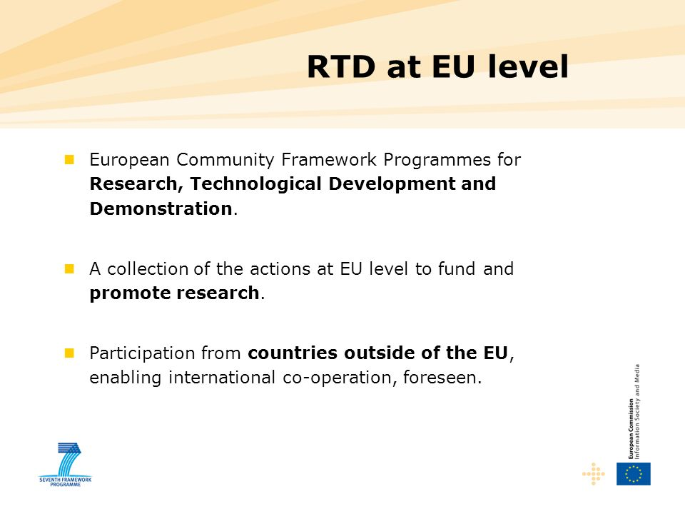 RTD at EU level European Community Framework Programmes for Research, Technological Development and Demonstration.