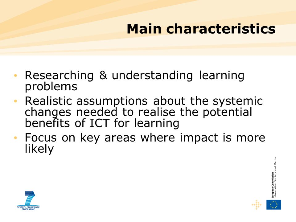 Main characteristics Researching & understanding learning problems