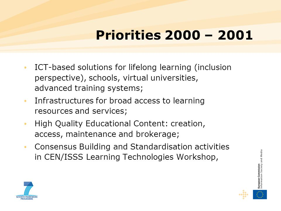 Priorities 2000 – 2001 ICT-based solutions for lifelong learning (inclusion perspective), schools, virtual universities, advanced training systems;