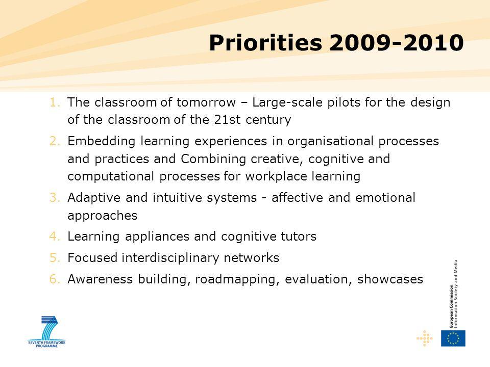 Priorities 2009-2010 The classroom of tomorrow – Large-scale pilots for the design of the classroom of the 21st century.