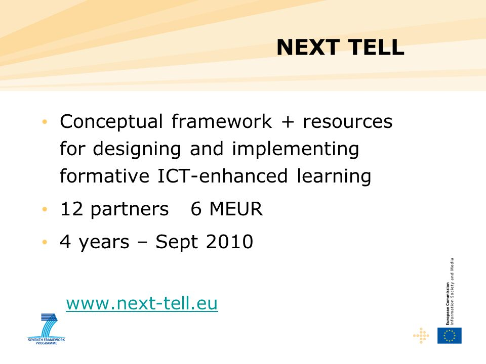 NEXT TELL Conceptual framework + resources for designing and implementing formative ICT-enhanced learning.