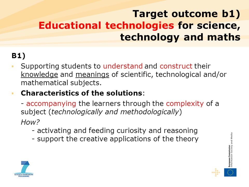 Target outcome b1) Educational technologies for science, technology and maths