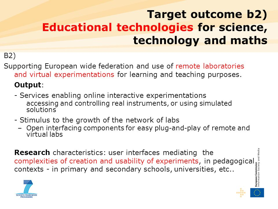 Target outcome b2) Educational technologies for science, technology and maths