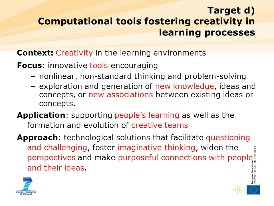 Target d) Computational tools fostering creativity in learning processes