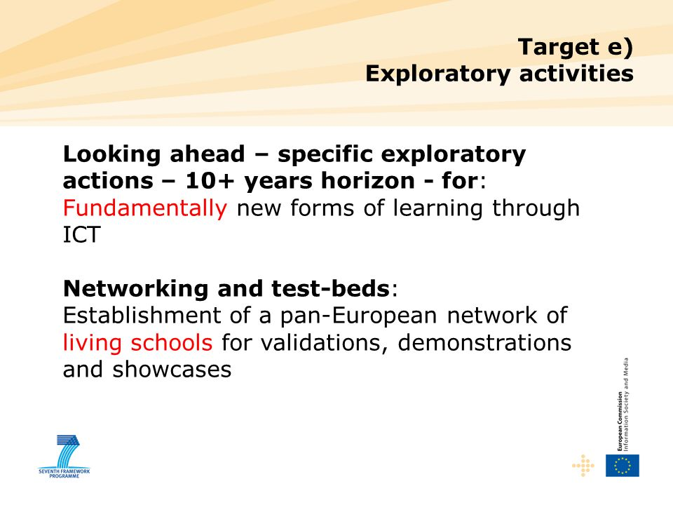 Target e) Exploratory activities