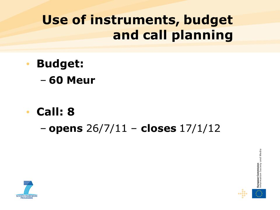 Use of instruments, budget and call planning