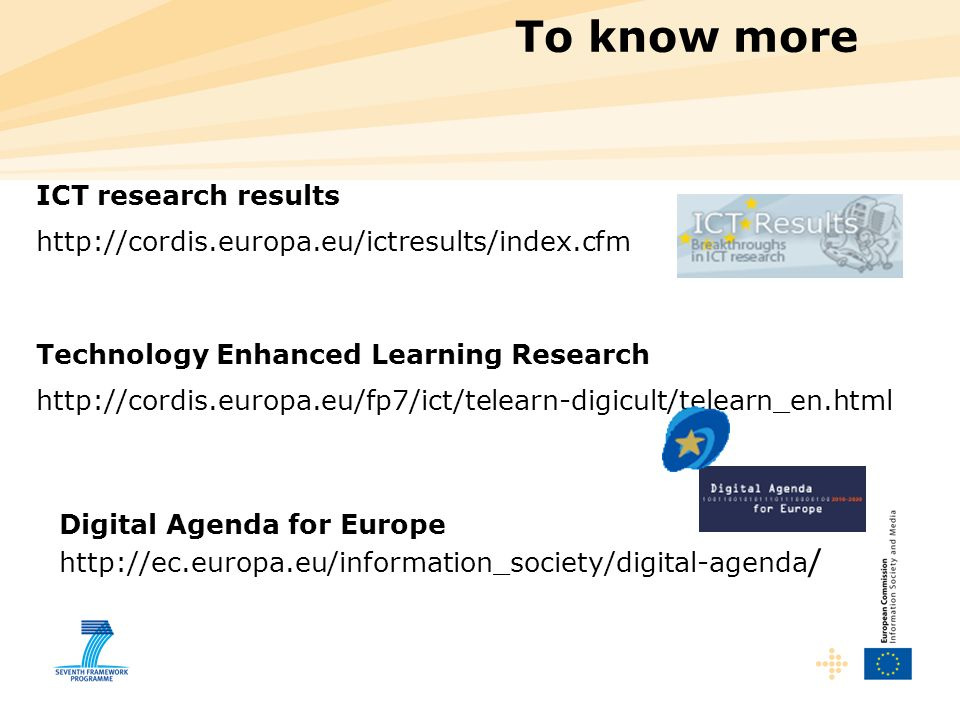 To know more ICT research results