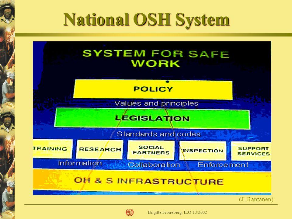 National OSH System (J. Rantanen) Brigitte Froneberg, ILO 10/2002