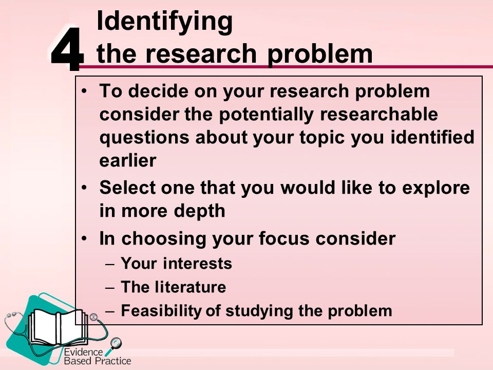 identifying a researchable problem (1) a summary of your area of interest, an identification of the problem that you have selected, and an explanation of the significance of this problem for nursing practice (2) the 5 questions you have generated and a description of how you analyzed them for feasibility.