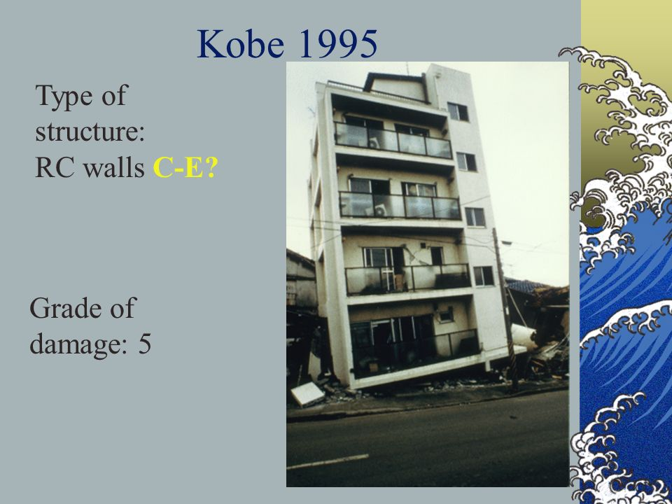 Kobe 1995 Type of structure: RC walls C-E Grade of damage: 5