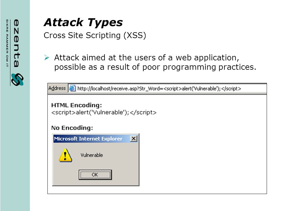 Attack Types Cross Site Scripting (XSS)