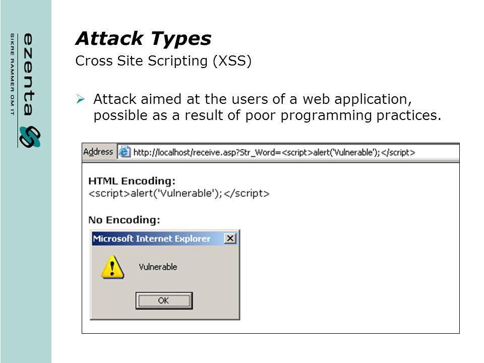 Attack Types Cross Site Scripting (XSS)