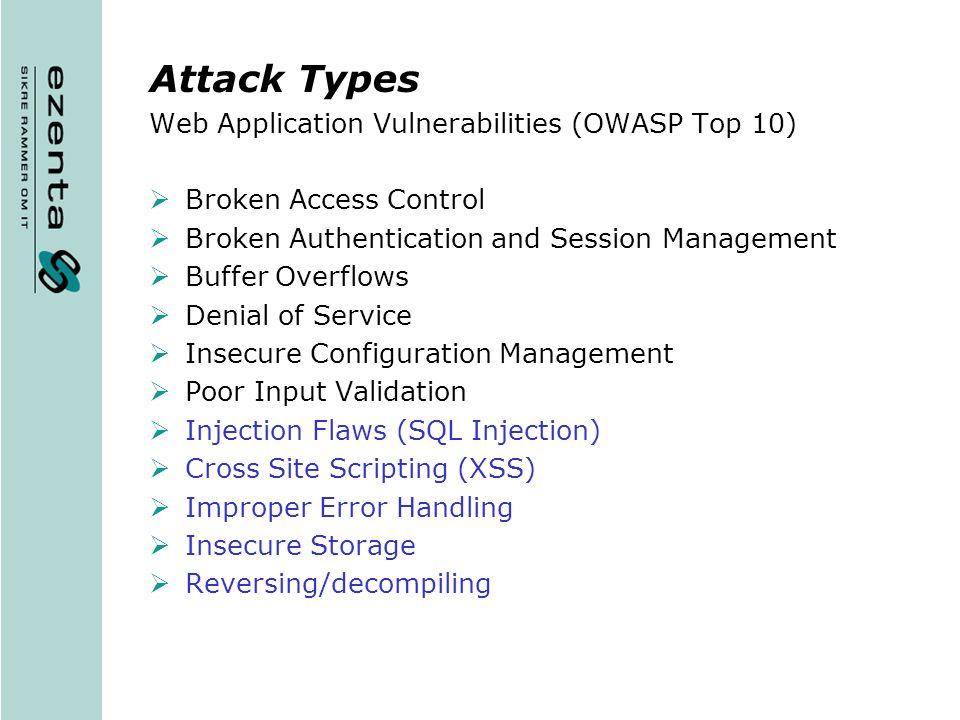 Attack Types Web Application Vulnerabilities (OWASP Top 10)