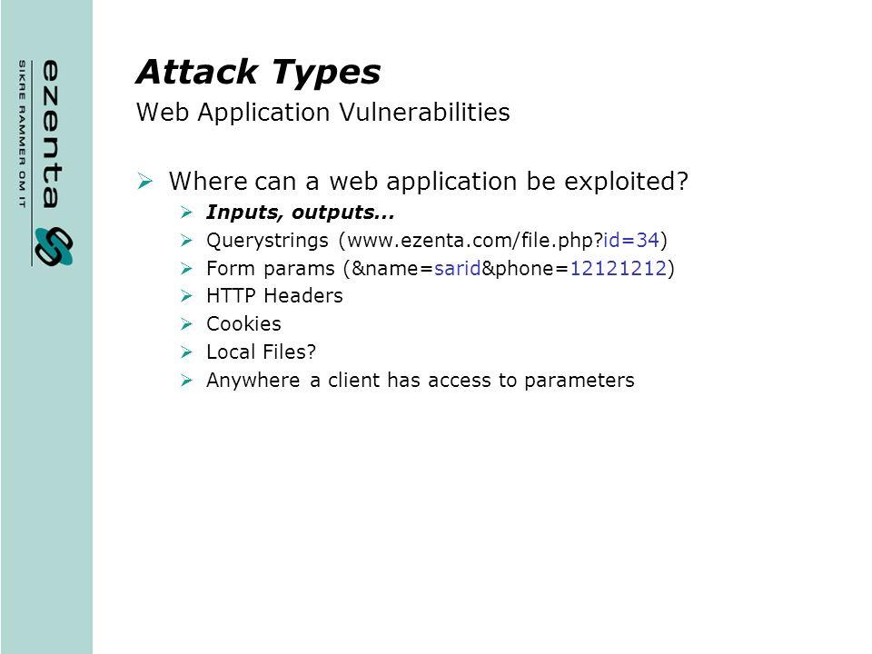 Attack Types Web Application Vulnerabilities
