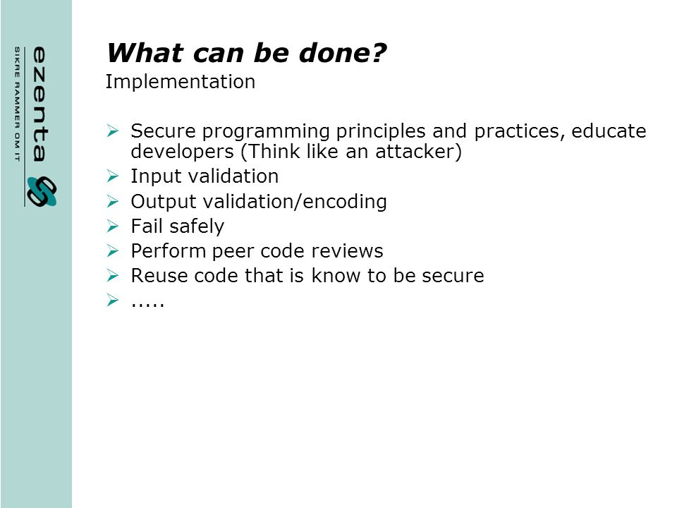 What can be done Implementation