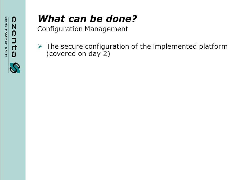What can be done Configuration Management