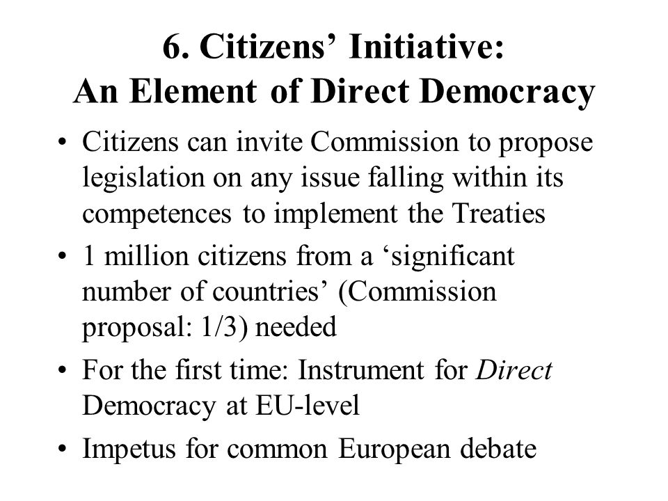 6. Citizens' Initiative: An Element of Direct Democracy